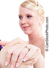 sposa, sposo, tenendo mano