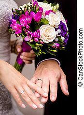 sposa, sposo, tenere mani