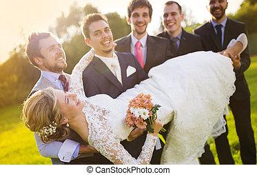 sposa, suo, amici, presa a terra, sposo