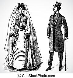 sposa, vendemmia, vettore, sposo