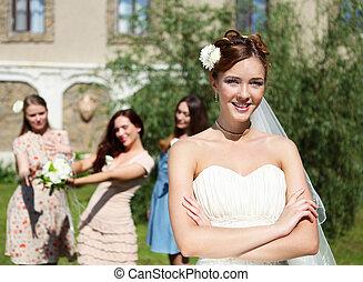 sposa, vestito bianco, giovane, matrimonio