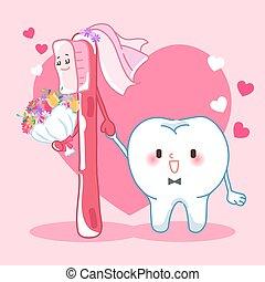 sposare, spazzolino denti, cartone animato