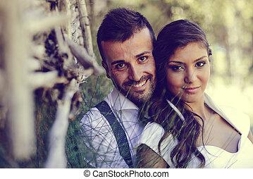 sposato appena, coppia, in, natura, fondo