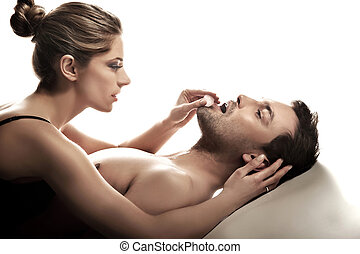 sposato, felice, ritratto, scena, intimo