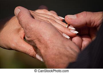 spose, anello, sposo, mettere, dito