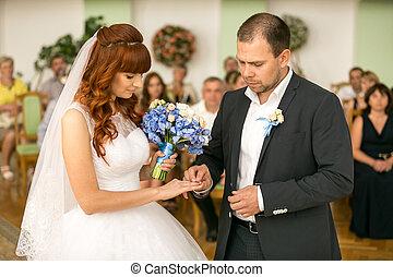 spose, sposo, o, mano, mettere, registrazione, fede, bello