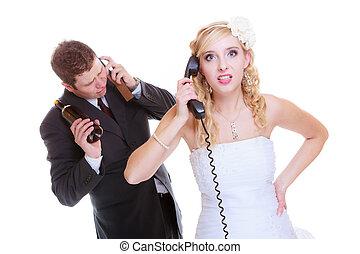 sposo, aiuto, ubriaco, alcolico, chiamata, sposa