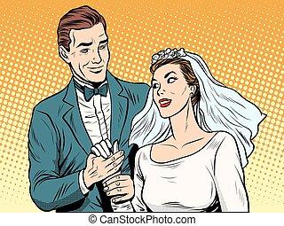 sposo, amore, fidanzamento, sposa, fidanzamento, matrimonio