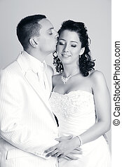 sposo, baciare, il, sposa, in, studio