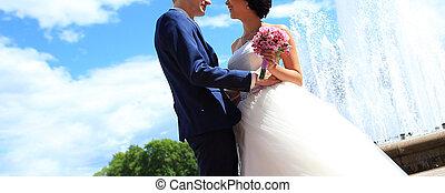 sposo, city., fondo, ritratto, sposa