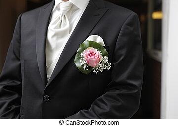 sposo, con, rosa