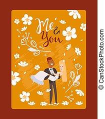 sposo, coppia, invito, cartone animato, felice, vettore, augurio, characters., scheda, illustration., sposa, romantico, appena sposato, interrazziale, matrimonio, matrimonio