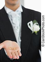 sposo, esposizione, anelli, giovane, matrimonio
