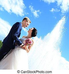 sposo, felice, city., fondo, ritratto, sposa