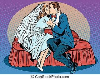 sposo, sposa, bacio, notte nozze, primo