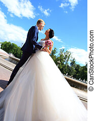 sposo, sposa, fondo, città