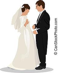 sposo, sposa, isolato, bianco
