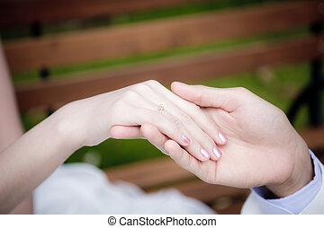 sposo, sposa, mettere, dito, fede
