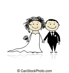 sposo, tuo, matrimonio, -, cerimonia, insieme, disegno, ...