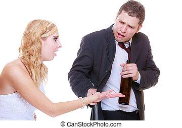 sposo, ubriaco, detenere, alcolico, argomento, sposa