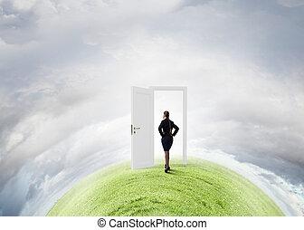 sposobność, drzwi, nowy