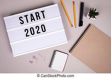 sposobności, nowy rok, początek, pojęcie, 2020., cele