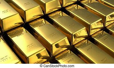 spostamento, accatastare, di, lingotti oro