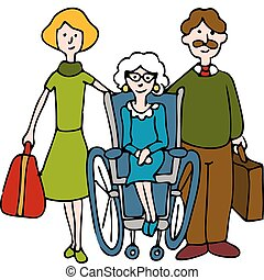spostamento, anziano, a, casa cura