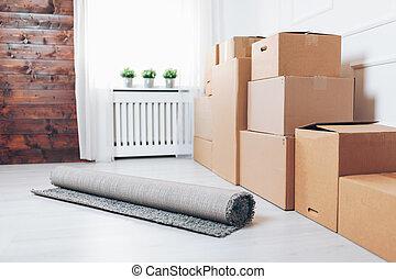 spostamento, concept., scatole cartone, stanza