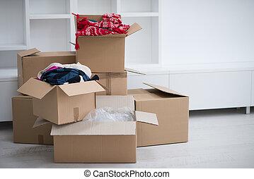 spostamento, scatole