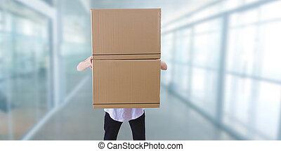 spostamento, scatole, cartone, accatastato, uomo