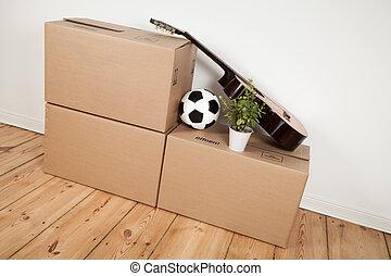 spostamento, scatole, chitarra, e, football