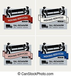 spostamento, servizi, ditta, logotipo, design.