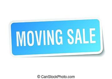 spostamento, vendita, quadrato, adesivo, bianco