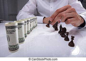 spostare, businessperson, scacchi, fabbricazione, pezzo, primo
