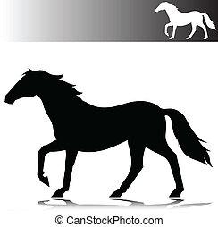 spostare, cavallo, vettore, silhouette
