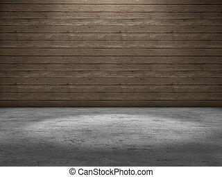 Spot light concrete floor