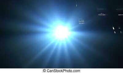 Spot light for disco or concert shinning straight towards camera creating realistic lens flare