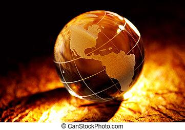 Spot Light ona Glass Globe