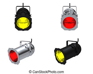 Spot lights - 3D rendering spot lights on white background
