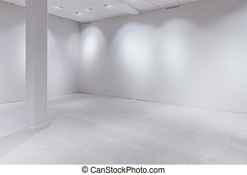 Spot lights and empty white wall as copy space