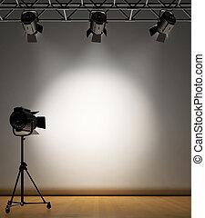 Spot Lit Wall - A vintage theater spotlight on a white...