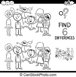 spot the difference coloring book - Black and White Cartoon...