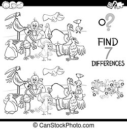 spot the difference with birds coloring book - Black and...