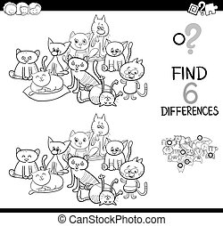 spot the difference with cats coloring book - Black and...