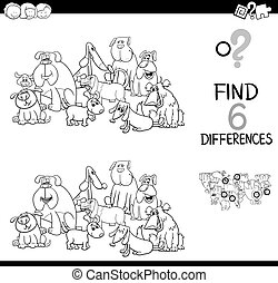 spot the difference with dogs coloring book - Black and...