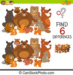 spot the differences activity - Cartoon Illustration of Spot...