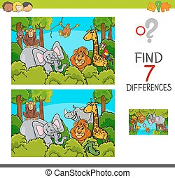spot the differences game with wild animals - Cartoon...