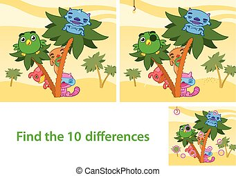 Spot the Differences Skill Game - Illustrated Spot the...