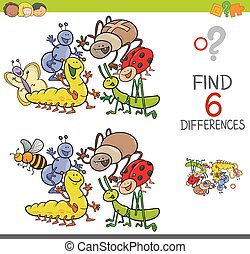 spot the differences with cute insects